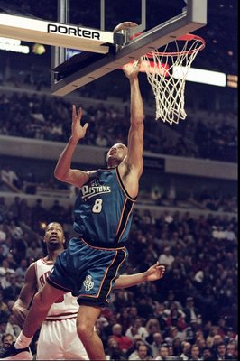 2 Mar 1999:  Bison Dele #8 of the Detroit Pistons in action during the game against the Chicago Bulls at the United Center in Chicago, Illinois. The Pistons defeated the Bulls 108-78.   Mandatory Credit: Jonathan Daniel  /Allsport