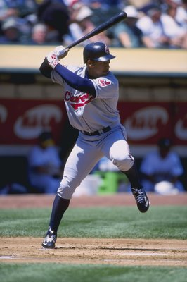 29 Apr 1999:  Manny Ramirez #24 of the Cleveland Indians ready to swing at the ball during the game between the Oakland Athletics at the Oakland Collesium in Oakland, California. The Indians defeated the Athletics 8-3. Mandatory Credit: Jed Jacobsohn  /Al