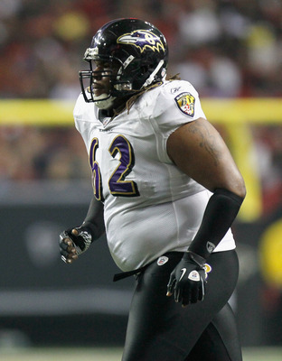 ATLANTA - NOVEMBER 11:  Terrence Cody #62 of the Baltimore Ravens against the Atlanta Falcons at Georgia Dome on November 11, 2010 in Atlanta, Georgia.  (Photo by Kevin C. Cox/Getty Images)