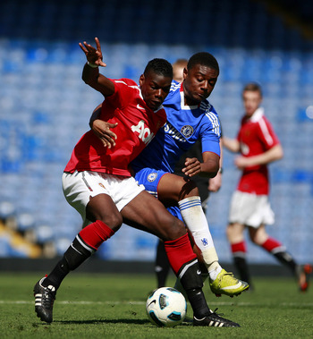 LONDON, ENGLAND - APRIL 10:  Rohan Ince (R) of Chelsea in action against Paul Pogba of Manchester United during the FA Youth Cup sponsored by E.on semi final first leg match between Chelsea and Manchester United at Stamford Bridge on April 10, 2011 in Lon