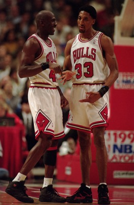 2 May 1995:  Guard Michael Jordan #45 of the Chicago Bulls celebrates with foward Scottie Pippen during the Bulls 103-80 win over the Charolette Hornets in the first round of the NBA playoffs at the United Center in Chicago, Illinois. Mandatory Credit: Jo