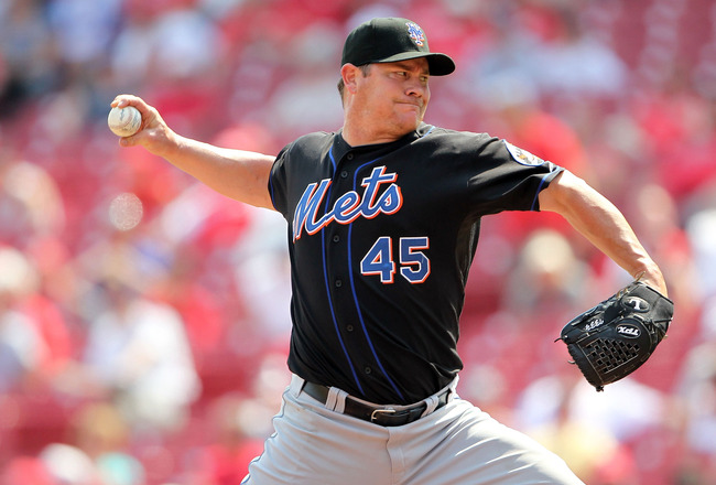 CINCINNATI, OH - JULY 28:  Jason Isringhausen #45 of the New York Mets throws a pitch during the game against the Cincinnati Reds at Great American Ball Park on July 28, 2011 in Cincinnati, Ohio.  (Photo by Andy Lyons/Getty Images)