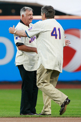 NEW YORK - AUGUST 22:  Tom Seaver shakes hands with Ron Taylor during the presentation commemorating the New York Mets 40th anniversary of the 1969 World Championship team on August 22, 2009 at Citi Field in the Flushing neighborhood of the Queens borough
