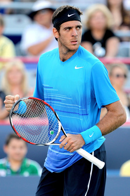 MONTREAL, QC - AUGUST 08:  Juan Martin Del Potro of Argentina celebrates match point against Jarkko Nieminen of Finland during the Rogers Cup at Uniprix Stadium on August 8, 2011 in Montreal, Canada.  (Photo by Matthew Stockman/Getty Images)