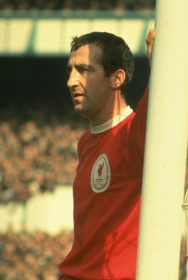 1960:  Portrait of Gerry Byrne of Liverpool leaning against the goalpost during a match. \ Mandatory Credit: Allsport UK /Allsport