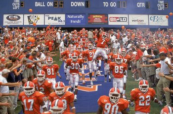 9 Sep 2000:  The Clemson Tigers enter the field with the crowd welcoming them during the game against the Missouri Tigers at Frank Howard Field in Clemson, South Carolina. Clemson defeated Missouri 62-7.Mandatory Credit: Craig Jones  /Allsport