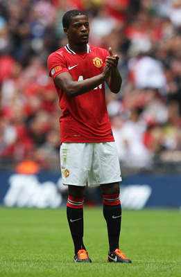 LONDON, ENGLAND - AUGUST 07:  Patrice Evra of Manchester United looks on during the FA Community Shield match sponsored by McDonald's between Manchester City and Manchester United at Wembley Stadium on August 7, 2011 in London, England.  (Photo by Clive R