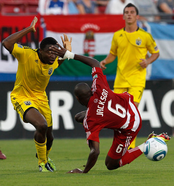 FRISCO, TX - JULY 02:  Emmanuel Ekpo #17 of the Columbus Crew reacts after tripping up Jackson Goncalves #6 of the FC Dallas at Pizza Hut Park on July 2, 2011 in Frisco, Texas.  (Photo by Tom Pennington/Getty Images)