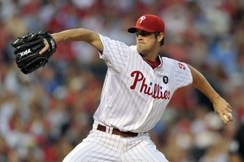 PHILADELPHIA, PA - AUGUST 12: Starting pitcher Cole Hamels #35 of the Philadelphia Phillies delivers a pitch during the game against the Washington Nationals at Citizens Bank Park on August 12, 2011 in Philadelphia, Pennsylvania. (Photo by Drew Hallowell/