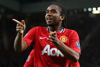 MANCHESTER, ENGLAND - AUGUST 22:  Anderson of Manchester United celebrates scoring his side's second goal during the Barclays Premier League match between Manchester United and Tottenham Hotspur at Old Trafford on August 22, 2011 in Manchester, England.