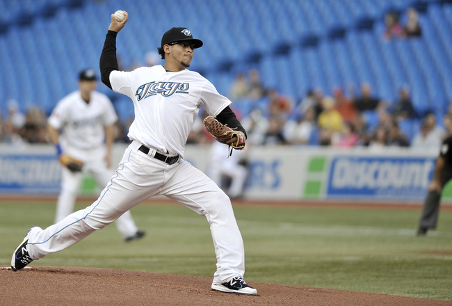TORONTO, CANADA - AUGUST 26:  Henderson Alvarez #37 of the Toronto Blue Jays delivers a pitch during MLB game action against the Tampa Bay Rays August 26, 2011 at Rogers Centre in Toronto, Ontario, Canada. (Photo by Brad White/Getty Images)