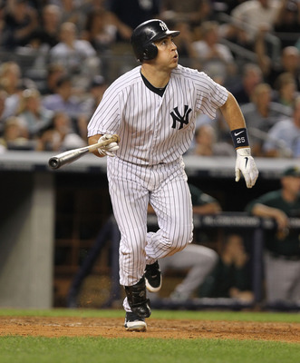 NEW YORK, NY - AUGUST 24:  Mark Teixeira #25 of the New York Yankees against the Oakland Athletics on August 24, 2011 at Yankee Stadium in the Bronx borough of New York City.  (Photo by Nick Laham/Getty Images)