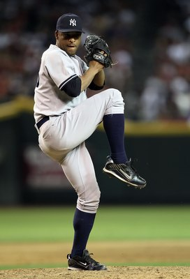 PHOENIX - JUNE 23:  Relief pitcher Damaso Marte #43 of the New York Yankees pitches against the Arizona Diamondbacks during the Major League Baseball game at Chase Field on June 23, 2010 in Phoenix, Arizona. The Yankees defeated the Diamondbacks 6-5 in te