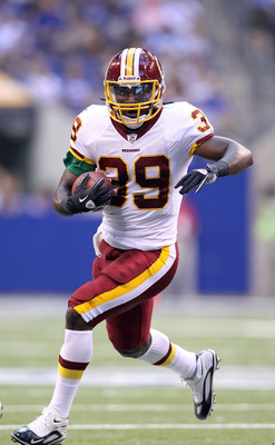 INDIANAPOLIS, IN - AUGUST 19:  Tim Hightower #39 of the Washington Redskins runs with the ball during the game against Indianapolis Colts at Lucas Oil Stadium on August 19, 2011 in Indianapolis, Indiana.  (Photo by Andy Lyons/Getty Images)