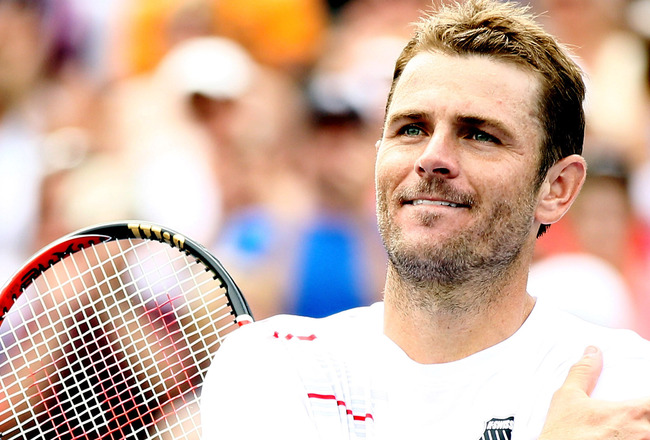 MASON, OH - AUGUST 19:  Mardy Fish celebrates his match win over Rafael Nadal of Spain during the Western &amp; Southern Open at the Lindner Family Tennis Center on August 19, 2011 in Mason, Ohio.  (Photo by Elsa/Getty Images)