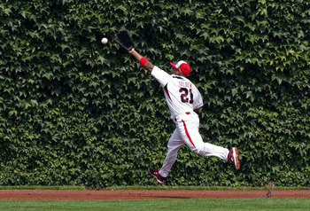 CHICAGO - AUGUST 8: Left Fielder Reggie Golden of Team One just misses the catch on a double hit by Nick Castellanos of the Baseball Factory in the second inning during the Under Armour All-American Baseball game on August 8, 2009 at Wrigley Field in Chic