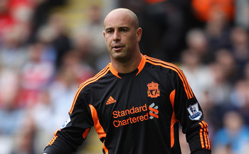 LIVERPOOL, ENGLAND - AUGUST 13:  Jose Reina of Liverpool directs his defence during the Barclays Premier League match between Liverpool and Sunderland at Anfield on August 13, 2011 in Liverpool, England.  (Photo by Clive Brunskill/Getty Images)