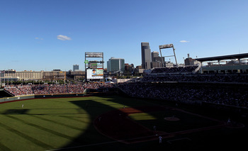 OMAHA, NE - JUNE 27:  The Florida Gators at bat against the South Carolina Gamecocks during game 1 of the men's 2011 NCAA College Baseball World Series at TD Ameritrade Park Omaha on June 27, 2011 in Omaha, Nebraska.  (Photo by Ronald Martinez/Getty Image