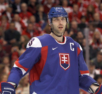VANCOUVER, BC - FEBRUARY 26: Zdenko Chara #33 of Slovakia is seen during the ice hockey men's semifinal game between the Canada and Slovakia on day 15 of the Vancouver 2010 Winter Olympics at Canada Hockey Place on February 26, 2010 in Vancouver, Canada.