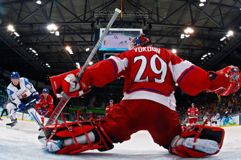 VANCOUVER, BC - FEBRUARY 24:  Tomas Vokoun #29 of Czech Republic makes a save against Antti Miettinen #20 of Finland during the ice hockey men's quarter final game between Finland and the Czech Republic on day 13 of the Vancouver 2010 Winter Olympics at U