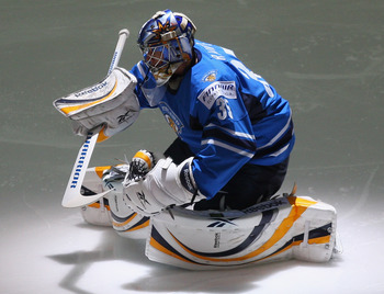 ZURICH, SWITZERLAND - MAY 04:  Pekka Rinne of Finland is the hero in the sudden death shoot out during the IIHF World Championship match between Canada and Finland at the Arena Zurich-Kloten on May 4, 2009 in Zurich, Switzerland.  (Photo by Mike Hewitt/Ge