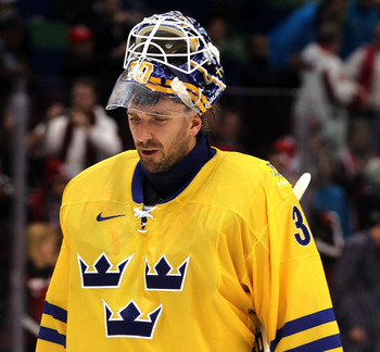 VANCOUVER, BC - FEBRUARY 24:  Goalkeeper Henrik Lundqvist of Sweden reacts after the ice hockey men's quarter final game between Sweden and Slovakia on day 13 of the Vancouver 2010 Winter Olympics at Canada Hockey Place on February 24, 2010 in Vancouver,