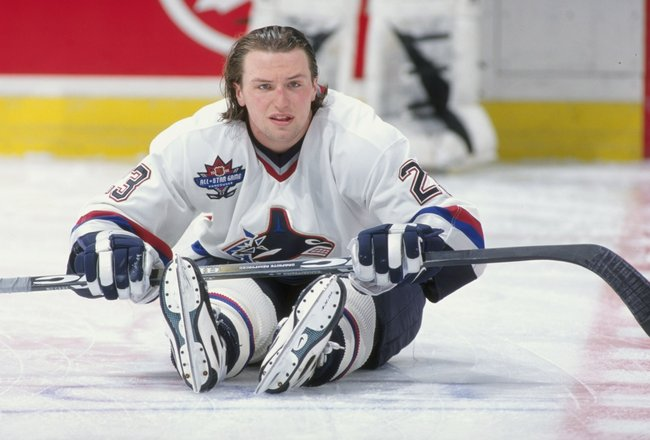 28 Mar 1998:  Defenseman Bryan McCabe of the Vancouver Canucks stretches out before a game against the Washington Capitals at the G.M. Place in Vancouver, B.C., Canada.The Capitals defeated the Canucks 3-2. Mandatory Credit: Craig Melvin  /Allsport