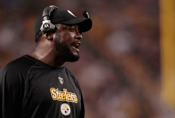 PITTSBURGH - AUGUST 18:  Head coach Mike Tomlin of the Pittsburgh Steelers watches his team play against the Philadelphia Eagles during the preseason game on August 18, 2011 at Heinz Field in Pittsburgh, Pennsylvania.  (Photo by Jared Wickerham/Getty Imag