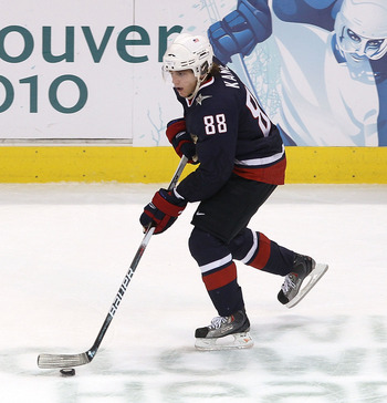 VANCOUVER, BC - FEBRUARY 26:  Patrick Kane #88 of the United States in action during the ice hockey men's semifinal game between the United States and Finland on day 15 of the Vancouver 2010 Winter Olympics at Canada Hockey Place on February 26, 2010 in V