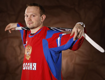 PITTSBURGH - FEBRUARY 03:  Sergei Gonchar #55 of the Pittsburgh Penguins poses for a portrait in his Team Russia 2010 Olympic jersey on February 3, 2010 at Mellon Arena in Pittsburgh, Pennsylvania.  (Photo by Gregory Shamus/Getty Images)