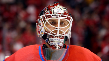 VANCOUVER, BC - FEBRUARY 24:  Ilya Bryzgalov #30 of Russia looks on in the third period during the ice hockey men's quarter final game between Russia and Canada on day 13 of the Vancouver 2010 Winter Olympics at Canada Hockey Place on February 24, 2010 in
