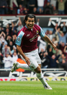 LONDON - MAY 05:  Carlos Tevez of West Ham United celebrates scoring during the Barclays Premiership match between West Ham United and Bolton Wanderers at Upton Park on May 5, 2007 in London, England.  (Photo by Chris Lee/Getty Images)