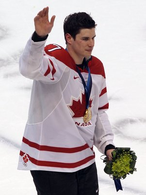 VANCOUVER, BC - FEBRUARY 28:  Sidney Crosby #87 of Canada celebrates after the ice hockey men's gold medal game between USA and Canada on day 17 of the Vancouver 2010 Winter Olympics at Canada Hockey Place on February 28, 2010 in Vancouver, Canada. Canada