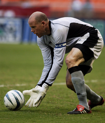 WASHINGTON - JULY 23:  Goalkeeper Brad Friedel #1 of the Blackburn Rovers makes a save against the D.C. United during the match on July 23, 2003 at RFK Stadium in Washington, D.C.  The United defeated the Rovers in a penalty kick shootout 6-5 in seven rou