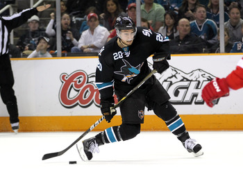 SAN JOSE, CA - MAY 12:  Kyle Wellwood #20 of the San Jose Sharks in action against the Detroit Red Wings in Game Seven of the Western Conference Semifinals during the 2011 NHL Stanley Cup Playoffs at HP Pavilion on May 12, 2011 in San Jose, California.  (
