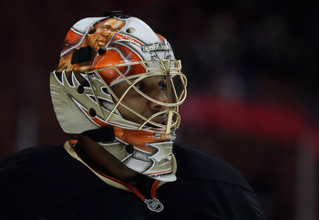 ANAHEIM, CA - FEBRUARY 27:  Goaltender Ray Emery #29 of the Anaheim Ducks looks on prior to the start of the game against the Colorado Avalanche at Honda Center on February 27, 2011 in Anaheim, California.  (Photo by Jeff Gross/Getty Images)