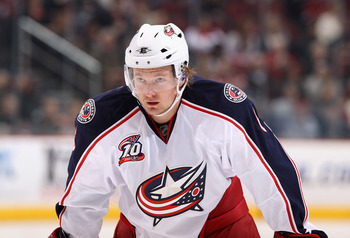 GLENDALE, AZ - JANUARY 04:  Anton Stralman #6 of the Columbus Blue Jackets during the NHL game against the Phoenix Coyotes at Jobing.com Arena on January 4, 2011 in Glendale, Arizona.  The Coyotes defeated the Blue Jackets 4-2.  (Photo by Christian Peters