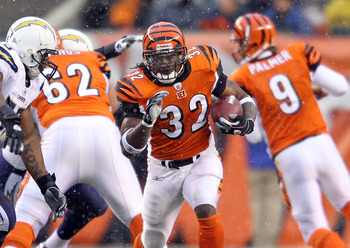CINCINNATI - DECEMBER 26:  Cedric Benson #32 of the Cincinnati Bengals runs with the ball during the NFL game against the San Diego Chargers at Paul Brown Stadium on December 26, 2010 in Cincinnati, Ohio. The Bengals 34-20.  (Photo by Andy Lyons/Getty Ima