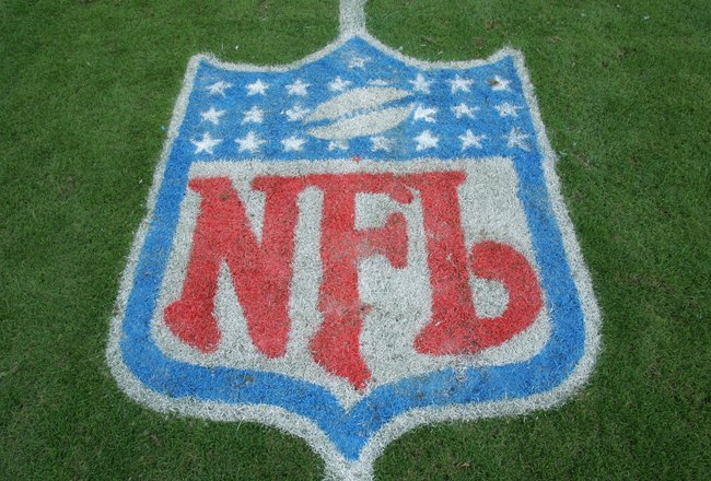 TAMPA, FL - DECEMBER 10:  The NFL Shield logo is shown on the field before the Tampa Bay Buccaneers game against the Atlanta Falcons on December 10, 2006 at Raymond James Stadium in Tampa, Florida. The Falcons defeated the Bucs 17-6. (Photo by Doug Pensin