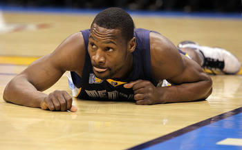 OKLAHOMA CITY, OK - MAY 15:  Guard Tony Allen #9 of the Memphis Grizzlies reacts against the Oklahoma City Thunder in Game Seven of the Western Conference Semifinals in the 2011 NBA Playoffs on May 15, 2011 at Oklahoma City Arena in Oklahoma City, Oklahom