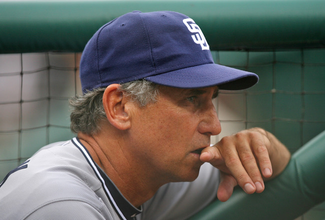 PHILADELPHIA - JULY 24: Manager Bud Black #20 of the San Diego Padres stands in the dugout during a game against the Philadelphia Phillies at Citizens Bank Park on July 24, 2011 in Philadelphia, Pennsylvania. The Phillies won 5-3. (Photo by Hunter Martin/