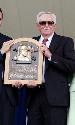 COOPERSTOWN, NY - JULY 27:  Hall of Fame inductee Dick Williams (2nd-L) accepts his plaque from (L-R) National Baseball Hall of Fame President Jeff Idelson, Hall of Fame chairman Jane Forbes Clark, and MLB commissioner Bud Selig at Clark Sports Center dur