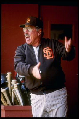 1990:  Manager Jack McKeon of the San Diego Padres watches his players from the dugout during a game. Mandatory Credit: Otto Greule  /Allsport