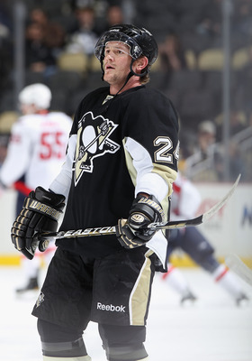 PITTSBURGH, PA - FEBRUARY 21:  Matt Cooke #24 of the Pittsburgh Penguins warms up before the NHL game against the Washington Capitals at Consol Energy Center on February 21, 2011 in Pittsburgh, Pennsylvania. The Capitals defeated the Penguins 1-0.  (Photo