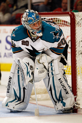 CHICAGO - MAY 21:  Goaltender Evgeni Nabokov #20 of the San Jose Sharks in net in overtime while taking on the Chicago Blackhawks in Game Three of the Western Conference Finals during the 2010 NHL Stanley Cup Playoffs at the United Center on May 21, 2010