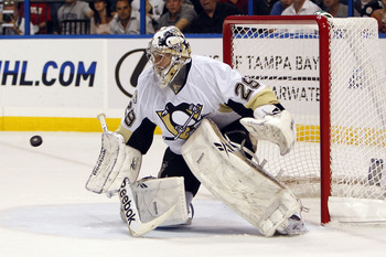TAMPA, FL - APRIL 20: Goaltender Marc-Andre Fleury #29 of the Pittsburgh Penguins defends the net against the Tampa Bay Lightning in Game Four of the Eastern Conference Quarterfinals during the 2011 NHL Stanley Cup Playoffs at the St. Pete Times Forum on