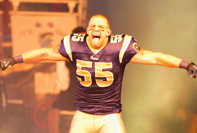 ST. LOUIS, MO - DECEMBER 19: James Laurinaitis #55 of the St. Louis Rams is introduced prior to playing the Kansas City Chiefs at the Edward Jones Dome on December 19, 2010 in St. Louis, Missouri.  The Chiefs beat the Rams 27-13.  (Photo by Dilip Vishwana