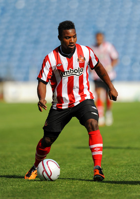BURNLEY, UNITED KINGDOM - JULY 30: Stephane Sessegnon of Sunderland in action during the pre season friendly match between Burnley and Sunderland at Turf Moor on July 30, 2011 in Burnley, England. (Photo by Clint Hughes/Getty Images)