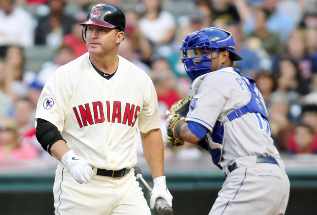 CLEVELAND, OH - AUGUST 27:  Designated hitter Jim Thome #25 of the Cleveland Indians strikes out during the second inning against the Kansas City Royals at Progressive Field on August 27, 2011 in Cleveland, Ohio. (Photo by Jason Miller/Getty Images)