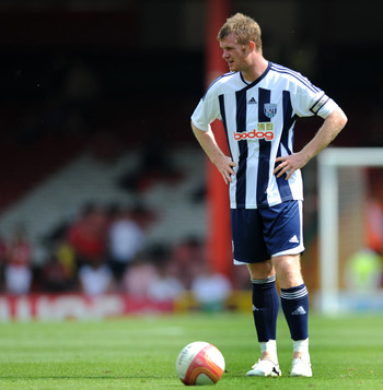 BRISTOL, ENGLAND - JULY 30: Chris Brunt of West Bromwich Albion during the Pre Season Friendly match between Bristol City and West Bromwich Albion at Ashton Gate on July 30, 2011 in Bristol, England.  (Photo by Daniel Hambury/Getty Images)